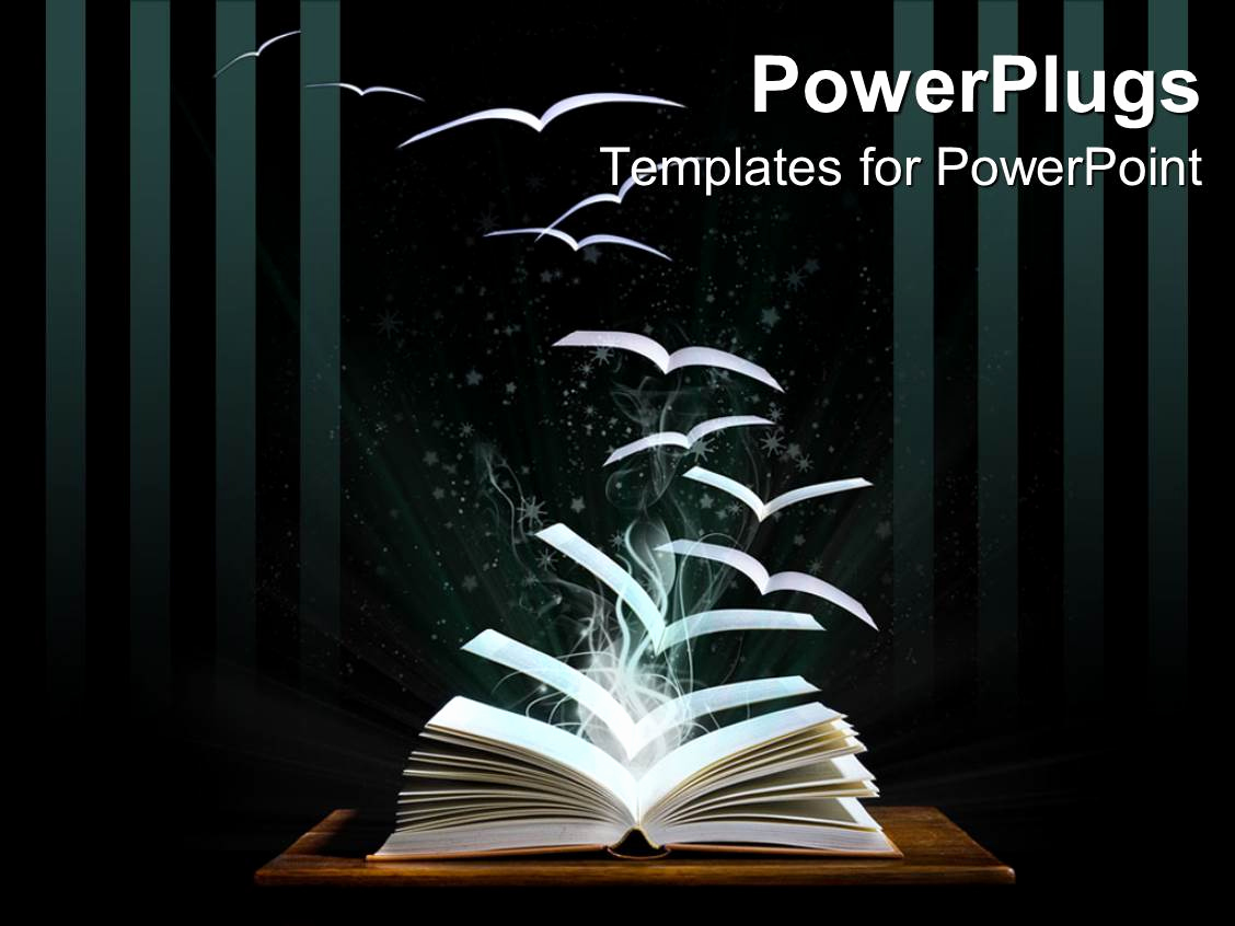 Books Powerpoint Template and Powerpoint Template Opened Book On Table with Pages