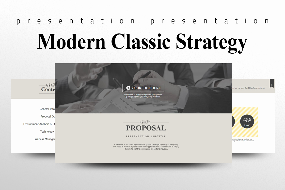Classic Powerpoint Template then Modern Classic Strategy Proposal Powerpoint