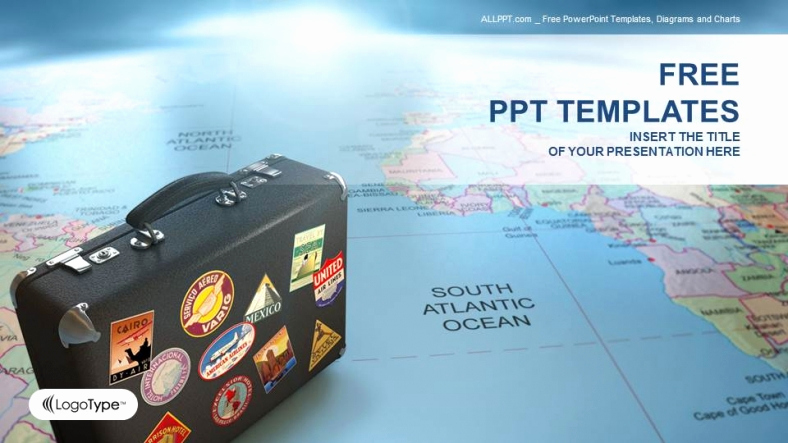 Free Travel Powerpoint Template for Suitcase Globe Map Business Ppt Templates