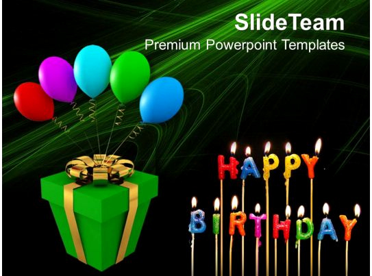 Happy Birthday Powerpoint Template then Gift and Balloons Happy Birthday Celebration Powerpoint