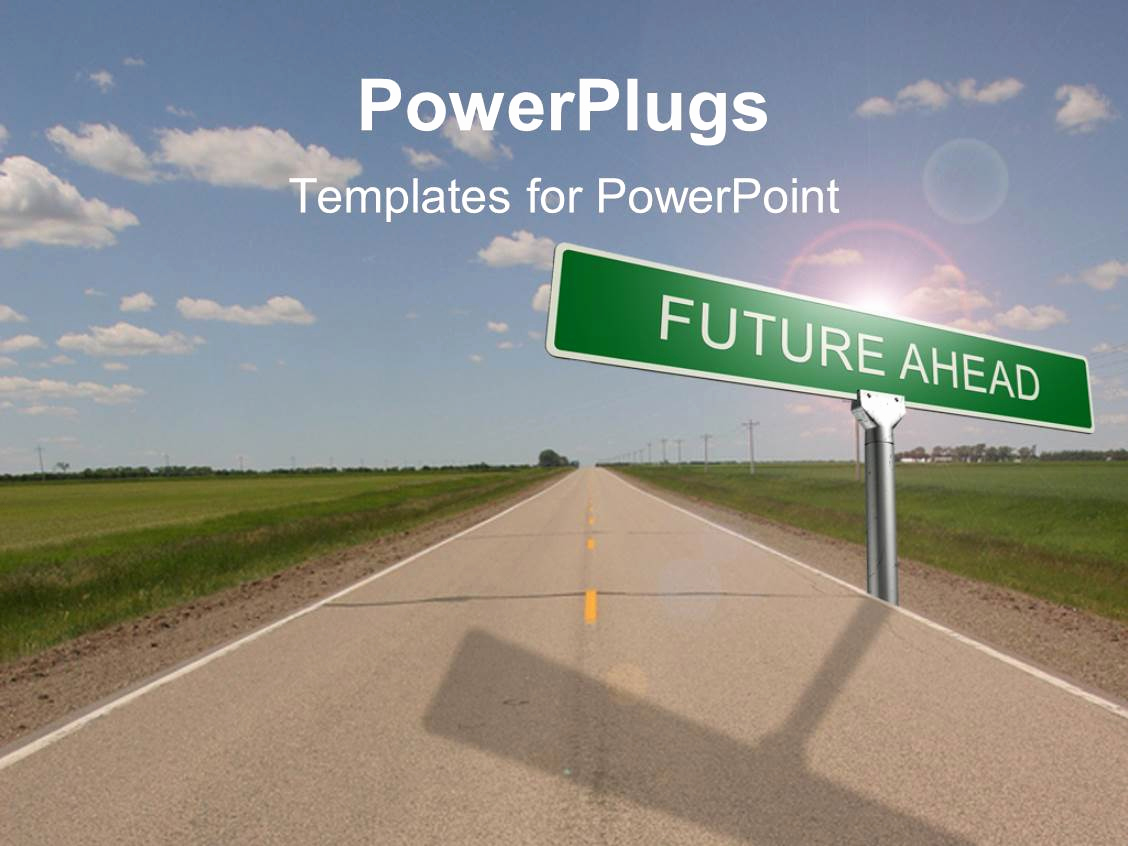 Road Powerpoint Template then Powerpoint Template Highway with Green Road Sign Reading