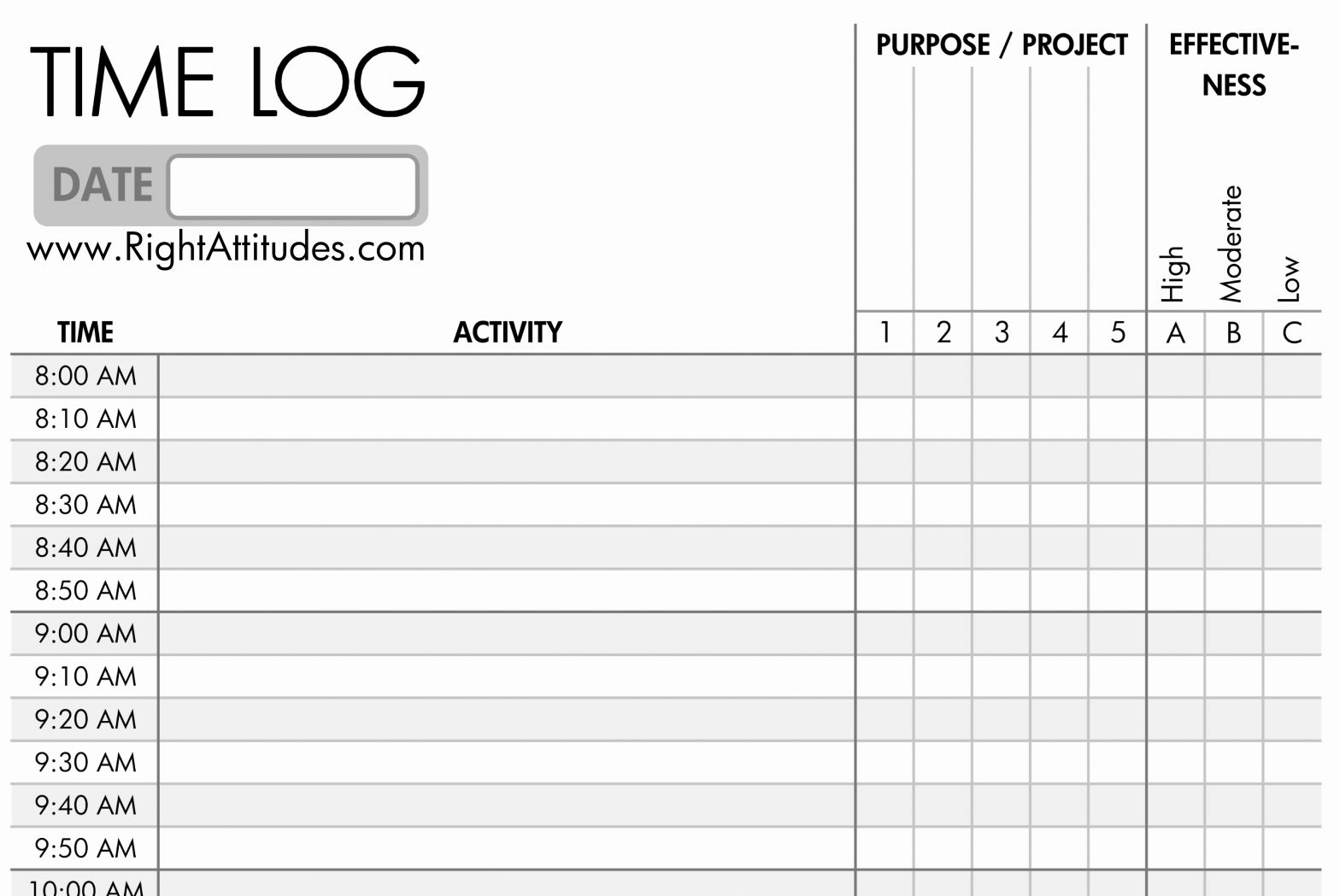 Time Management Template and 10 Great Time Management Worksheets to Keep You Task