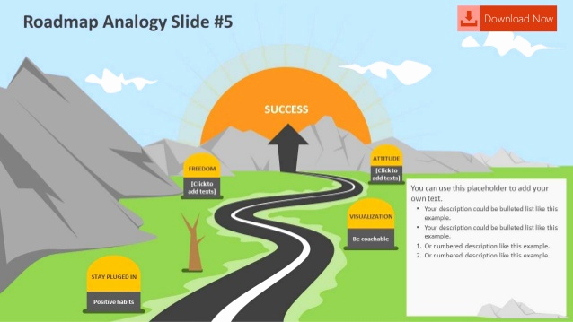 Free Road Powerpoint Template then Roadmap Analogy Editable Powerpoint Slides