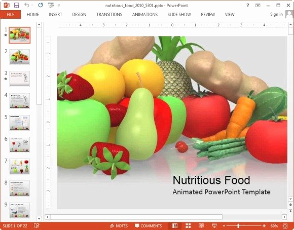 Healthy Food Powerpoint Of Animated Nutrition Powerpoint Templates