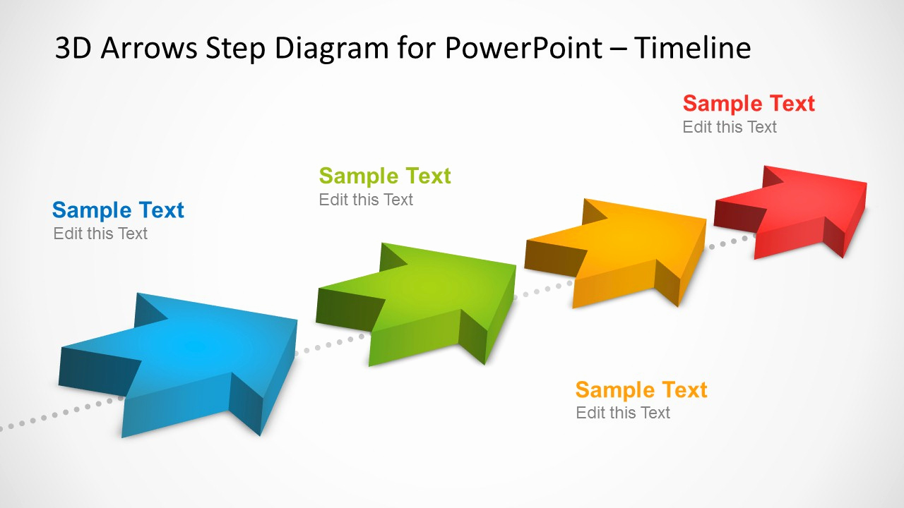 Arrows Powerpoint Templates and 4 Milestones Timeline Template with 3d Arrows In