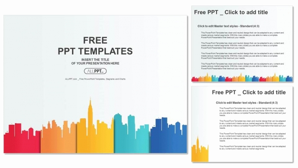 Color Powerpoint Template or City Buildings Silhouettes and Colors Powerpoint Templates