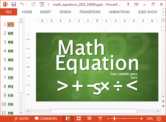 Math Powerpoint Template for Animated Math Equations for Powerpoint
